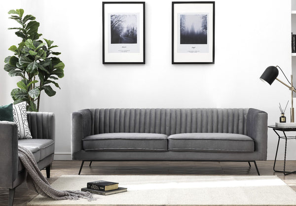Vandam Velvet Sofa in Charcoal Grey