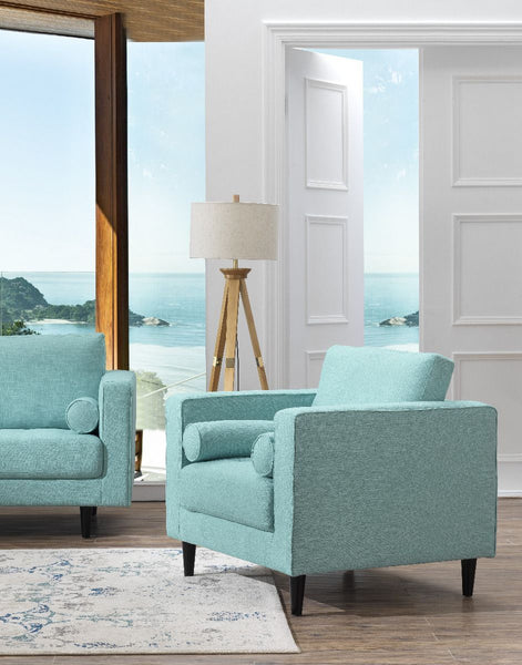 Arthur Tweed Upholstered Armchair in Mint Green-Blue