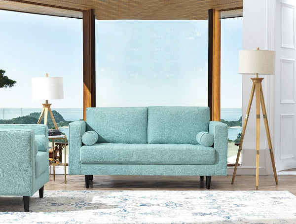 Arthur Tweed Upholstered Loveseat in Mint Green-Blue