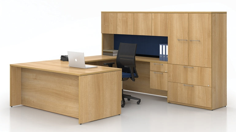 Concept 400E Plan 09 Workstation in Tuscany Walnut Laminate