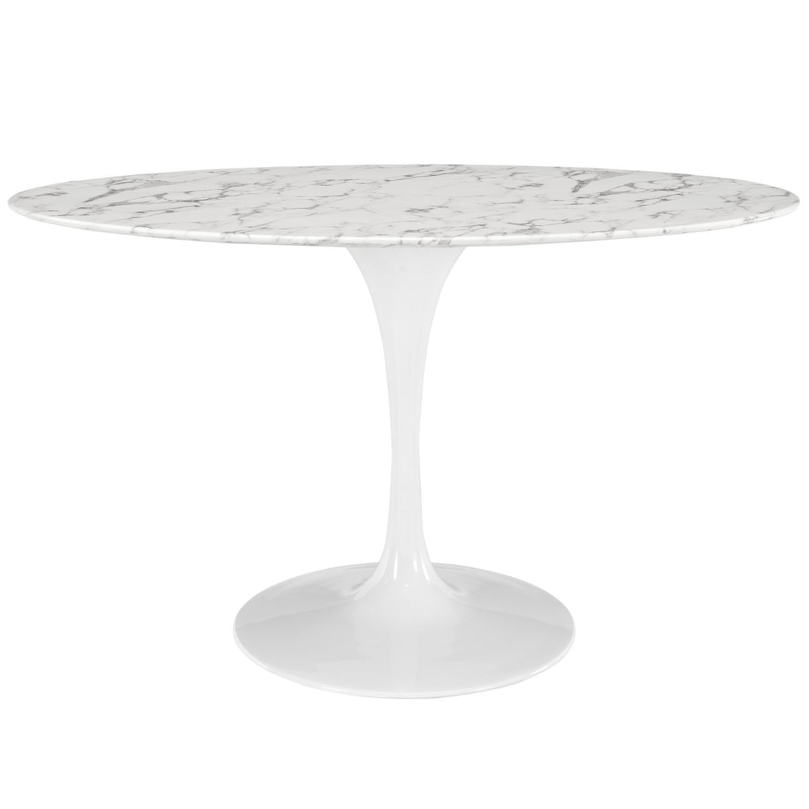 "Lippa 54"" Oval-Shaped Artificial Marble Dining Table - taylor ray decor"