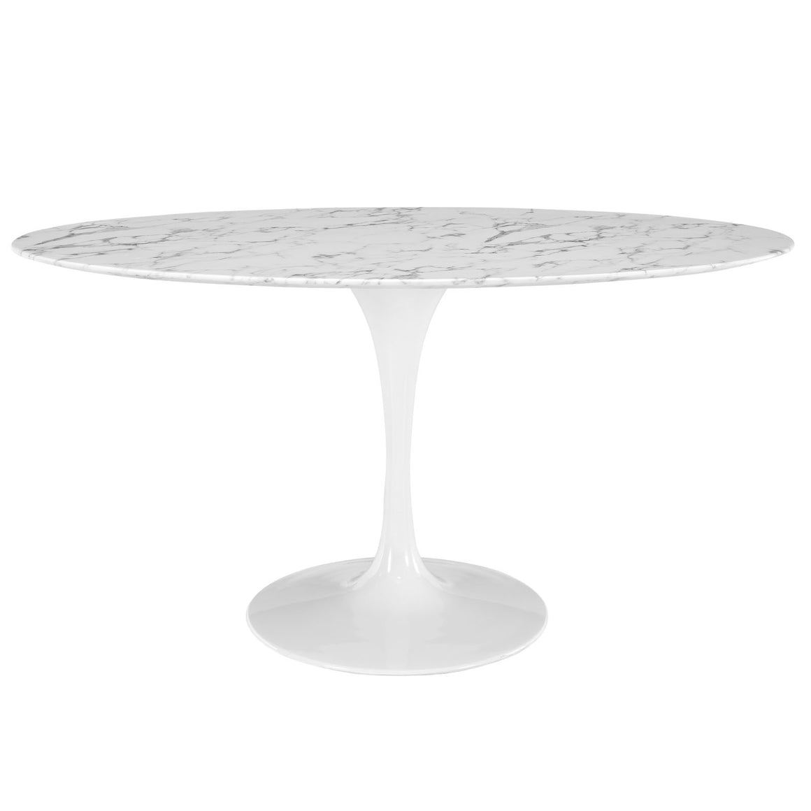 "Lippa 60"" Oval-Shaped Artificial Marble Dining Table - taylor ray decor"