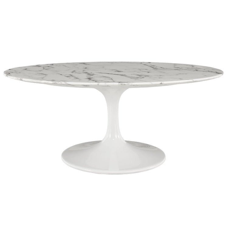 "Lippa 42"" Oval-Shaped Artificial Marble Coffee Table - taylor ray decor"