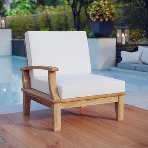 Marina Outdoor Patio Teak Left-Facing Sofa in Natural White