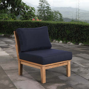 Marina Outdoor Patio Teak Armless Sofa in Natural Navy