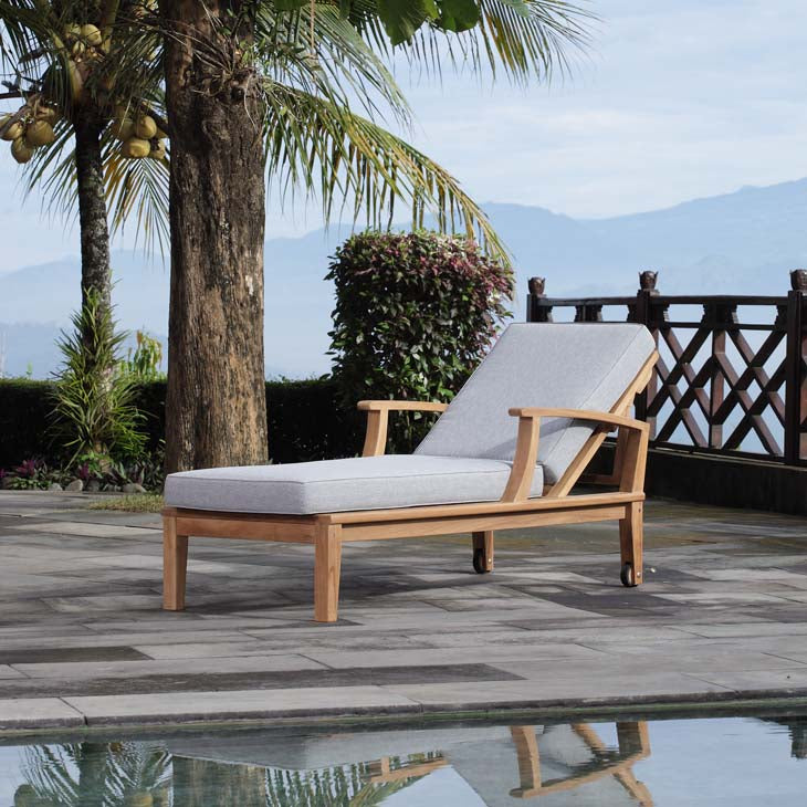 Marina Outdoor Patio Teak Chaise Lounge in Natural Gray