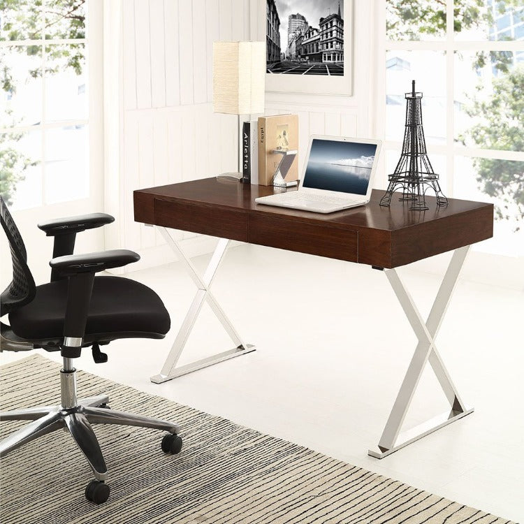 Sector Modern Home Office Desk (Stainless Steel) - taylor ray decor