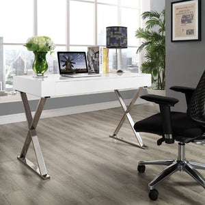 Sector Modern Home Office Desk in White