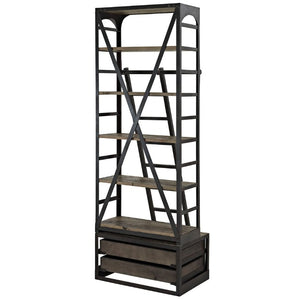 Velocity Modern Industrial Wood Bookshelf