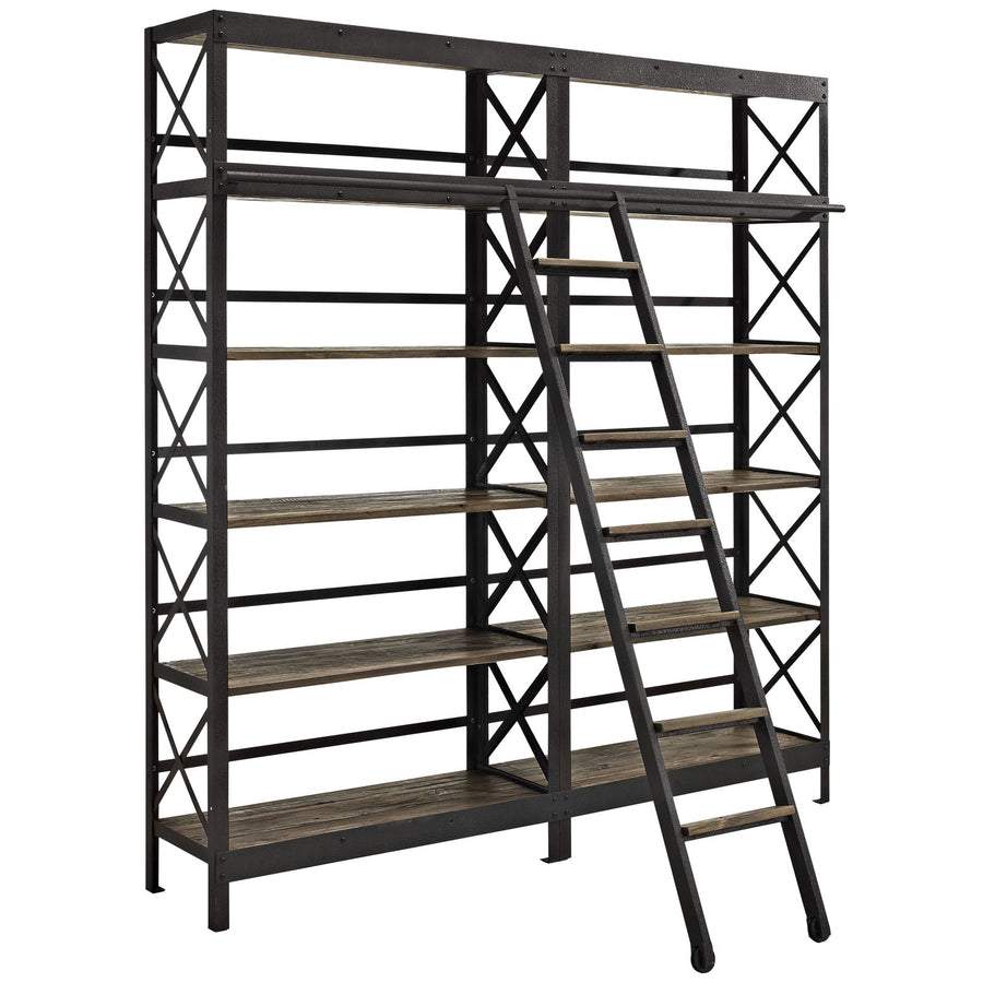 Headway Industrial Wood Bookshelf