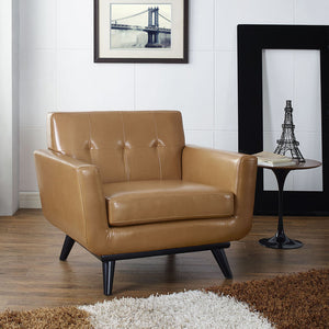 Engage Modern Bonded Leather Armchair in Tan