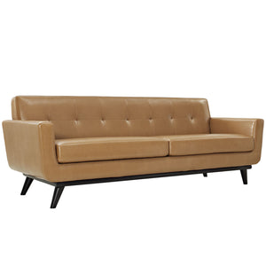 Engage Modern Bonded Leather Sofa in Tan