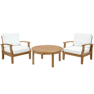 Marina 3-Piece Outdoor Patio Teak Armchair Set in Natural White
