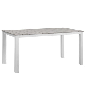 "Maine 63"" Outdoor Patio Dining Table in White Light Gray"