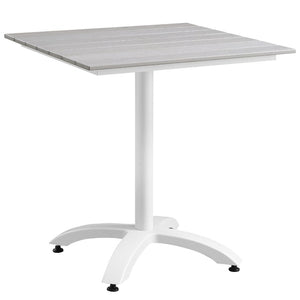 "Maine 28"" Outdoor Patio Dining Table in White Light Gray"