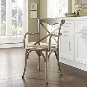 Gear Wood Dining Armchair in Gray Wash