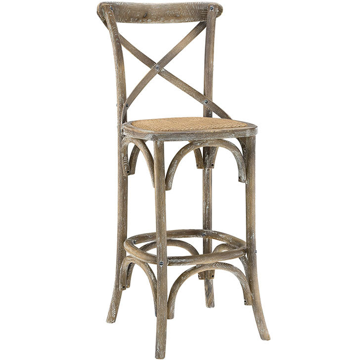 Gear Rustic Wood Bar Stool in Gray Wash