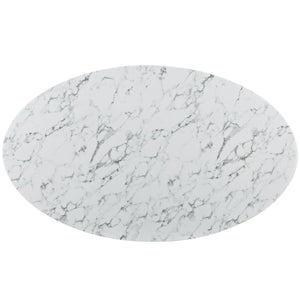 "Lippa 78"" Oval-Shaped Artificial Marble Dining Table"