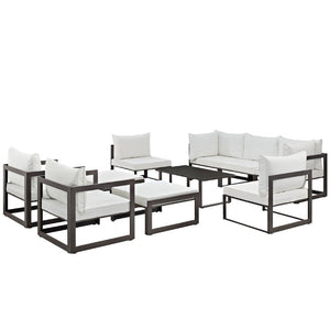 Fortuna 10 Piece Outdoor Patio Sectional Sofa Set - taylor ray decor