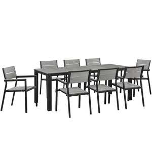 Maine 9-Piece Outdoor Patio Dining Set in Brown Gray