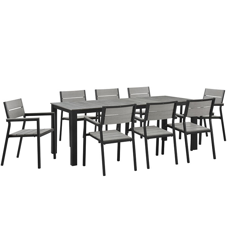 "Maine 9-Piece 80"" Outdoor Patio Dining Set - taylor ray decor"