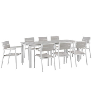 Maine 9-Piece Outdoor Patio Dining Set in White Light Gray