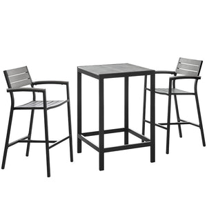Maine 3-Piece Outdoor Patio Bar & Dining Set - taylor ray decor