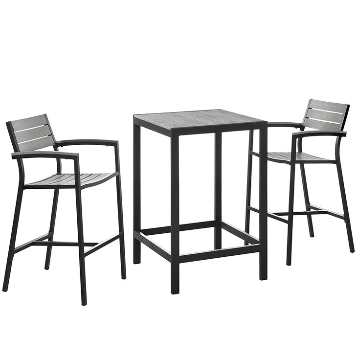 Maine 3-Piece Outdoor Patio Bar & Dining Set in Brown Gray