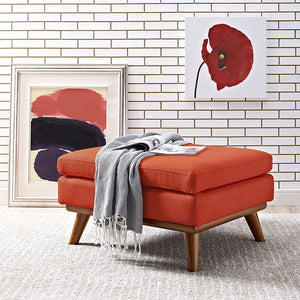 Engage Mid-Century Modern Fabric Ottoman in Atomic Red
