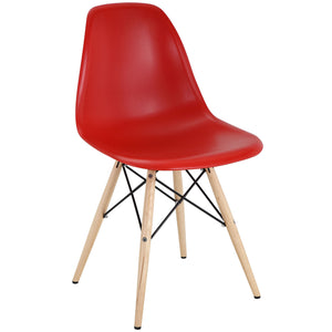 Pyramid Modern Dining Side Chair in Red