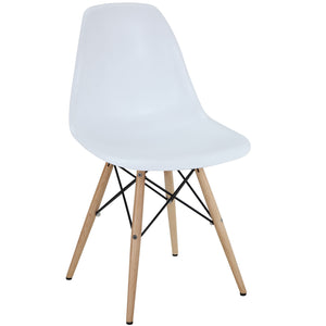 Pyramid Modern Dining Side Chair in White