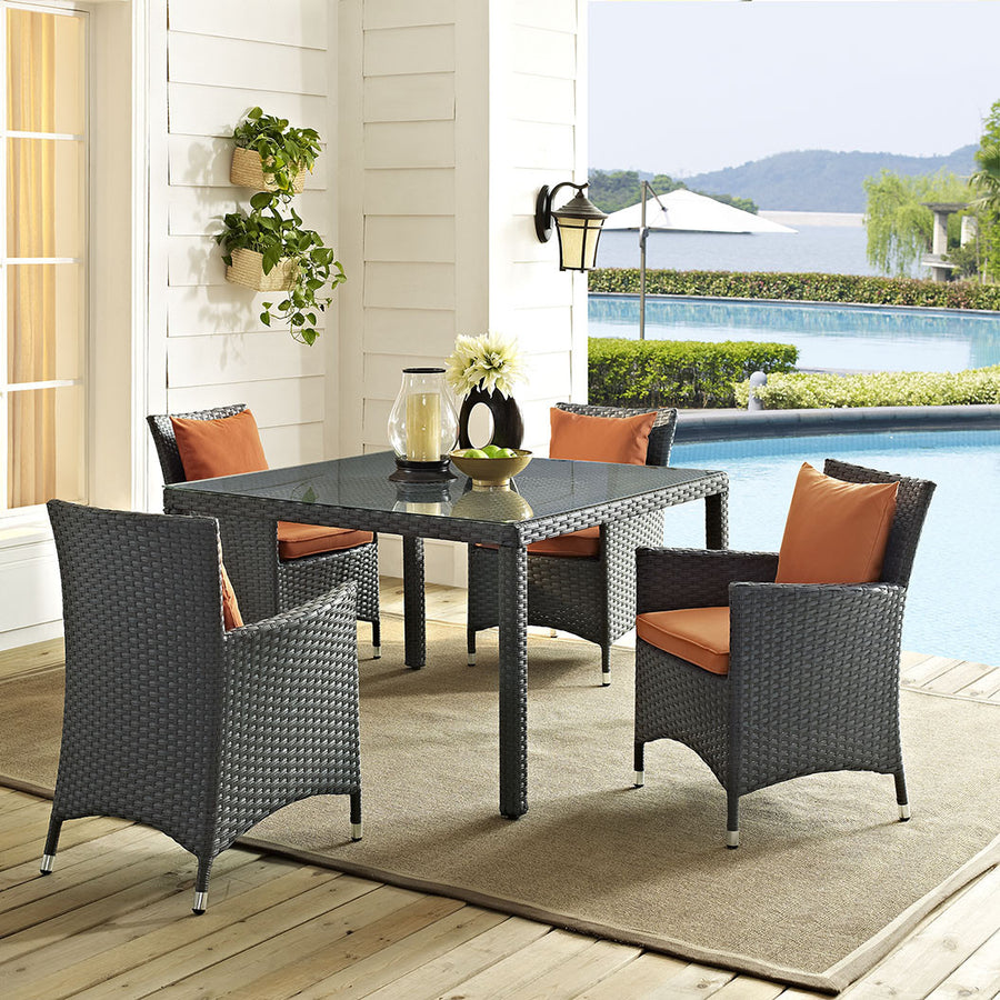 "Sojourn 47"" Square Outdoor Patio Glass Top Dining Table - taylor ray decor"