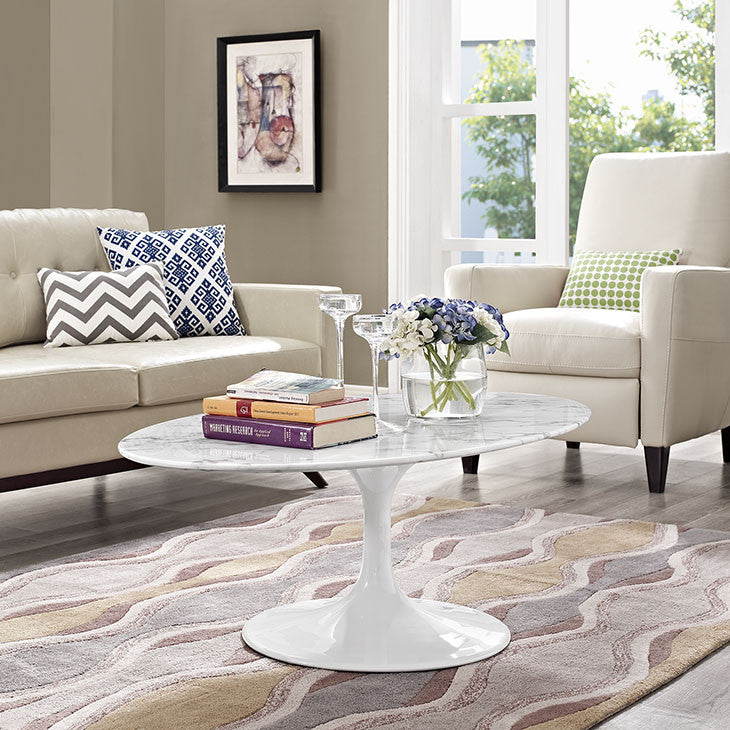 "Lippa 48"" Oval-Shaped Artificial Marble Coffee Table - taylor ray decor"