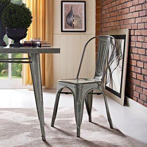 Promenade Metal Side Chair in Gunmetal