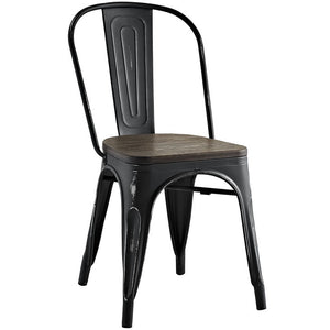 Promenade Metal Side Chair with Bamboo Seat - taylor ray decor