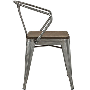 Promenade Metal Dining Chair with Bamboo Seat