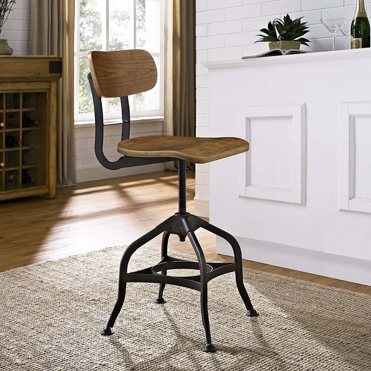 Mark Industrial Wood Bar Stool