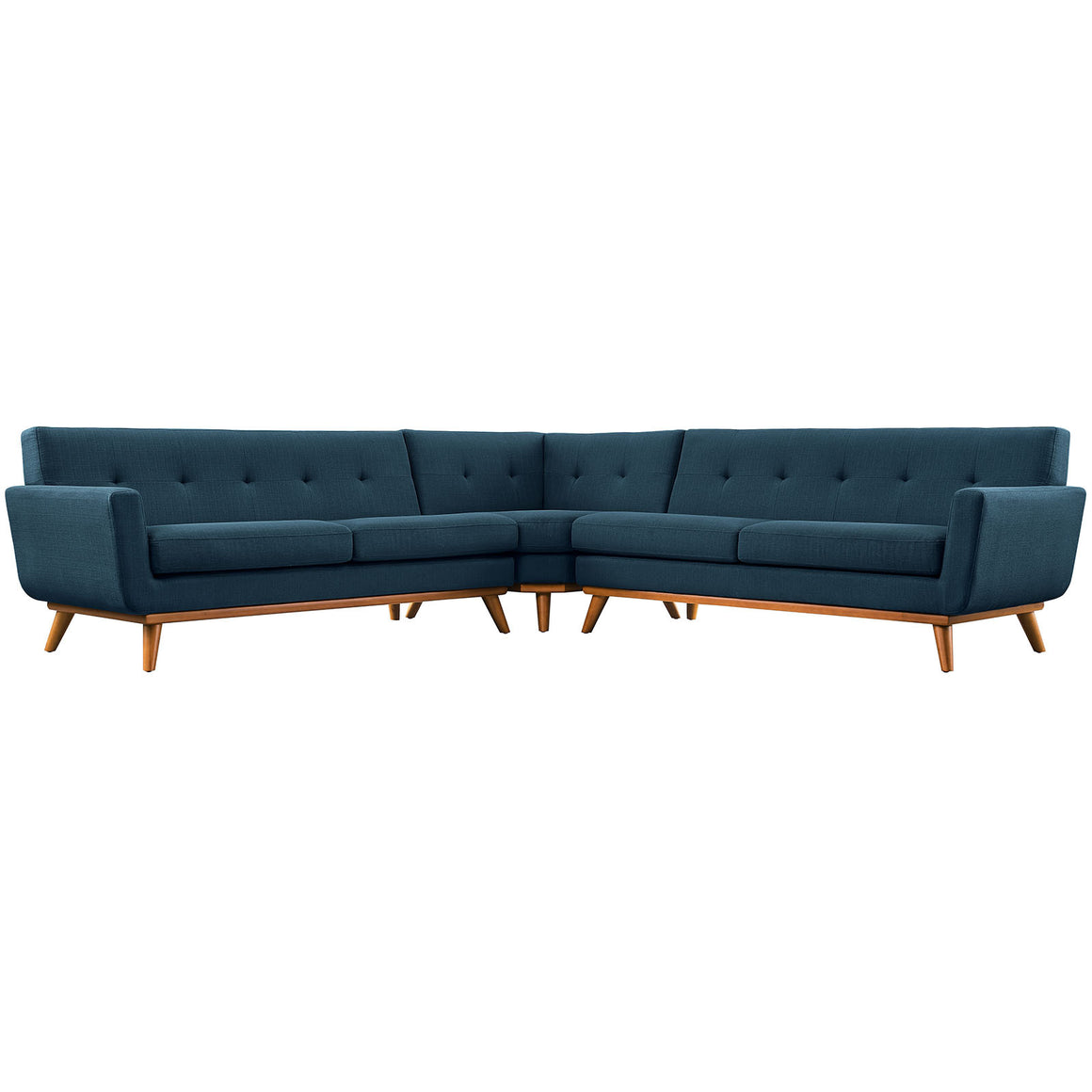 Engage Mid-Century Modern L-Shaped Sectional Sofa in Azure