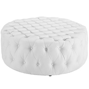 Amour Tufted Vinyl Ottoman in White
