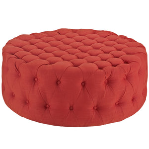Amour Tufted Fabric Ottoman in Atomic Red