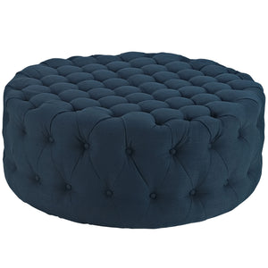 Amour Tufted Fabric Ottoman in Azure