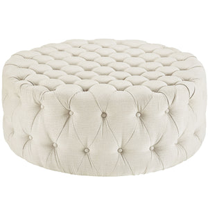 Amour Tufted Fabric Ottoman in Beige