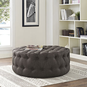 Amour Tufted Fabric Ottoman in Brown
