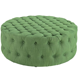 Amour Tufted Fabric Ottoman in Kelly Green