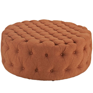 Amour Tufted Fabric Ottoman in Orange