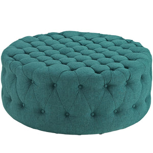 Amour Tufted Fabric Ottoman in Teal