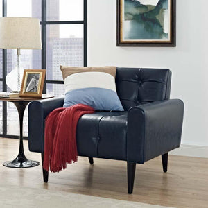 Delve Faux Leather Armchair in Deep Blue