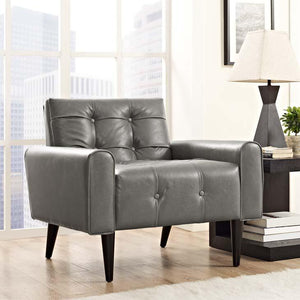 Delve Faux Leather Armchair in Steel Gray