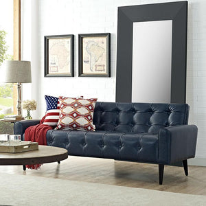 Delve Faux Leather Sofa in Deep Blue
