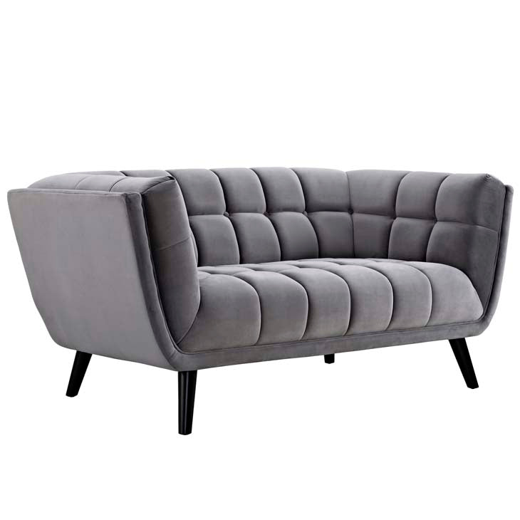 Bestow Modern Velvet Loveseat in Gray